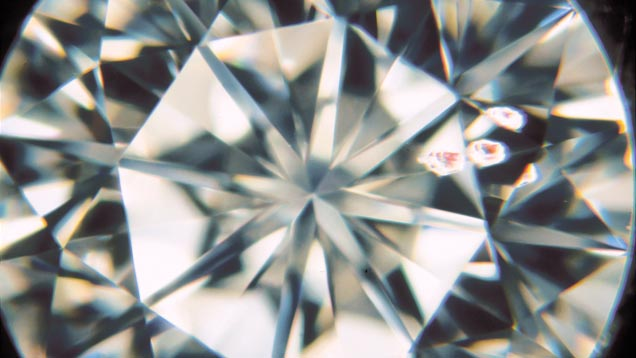 The relief factor describes an inclusion's visibility. These crystals are easy to see because of their color. If they were colorless, the diamond would receive a higher grade. (30X)
