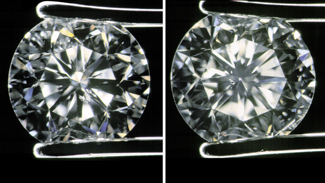 Combination of VRLs 69234 & 102411. Left: SI1. Used in DE4 A large crystal is visible under the table of this stone. Right: SI1 round brilliant cut diamond held in tweezers