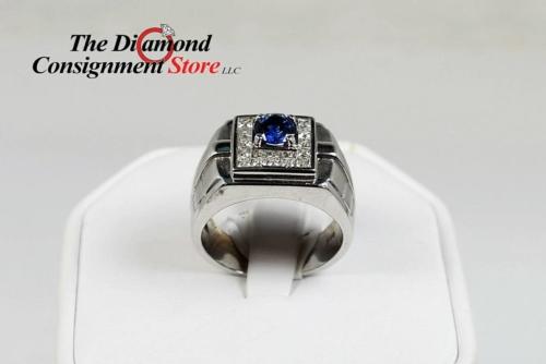 Men's diamond and sapphire band