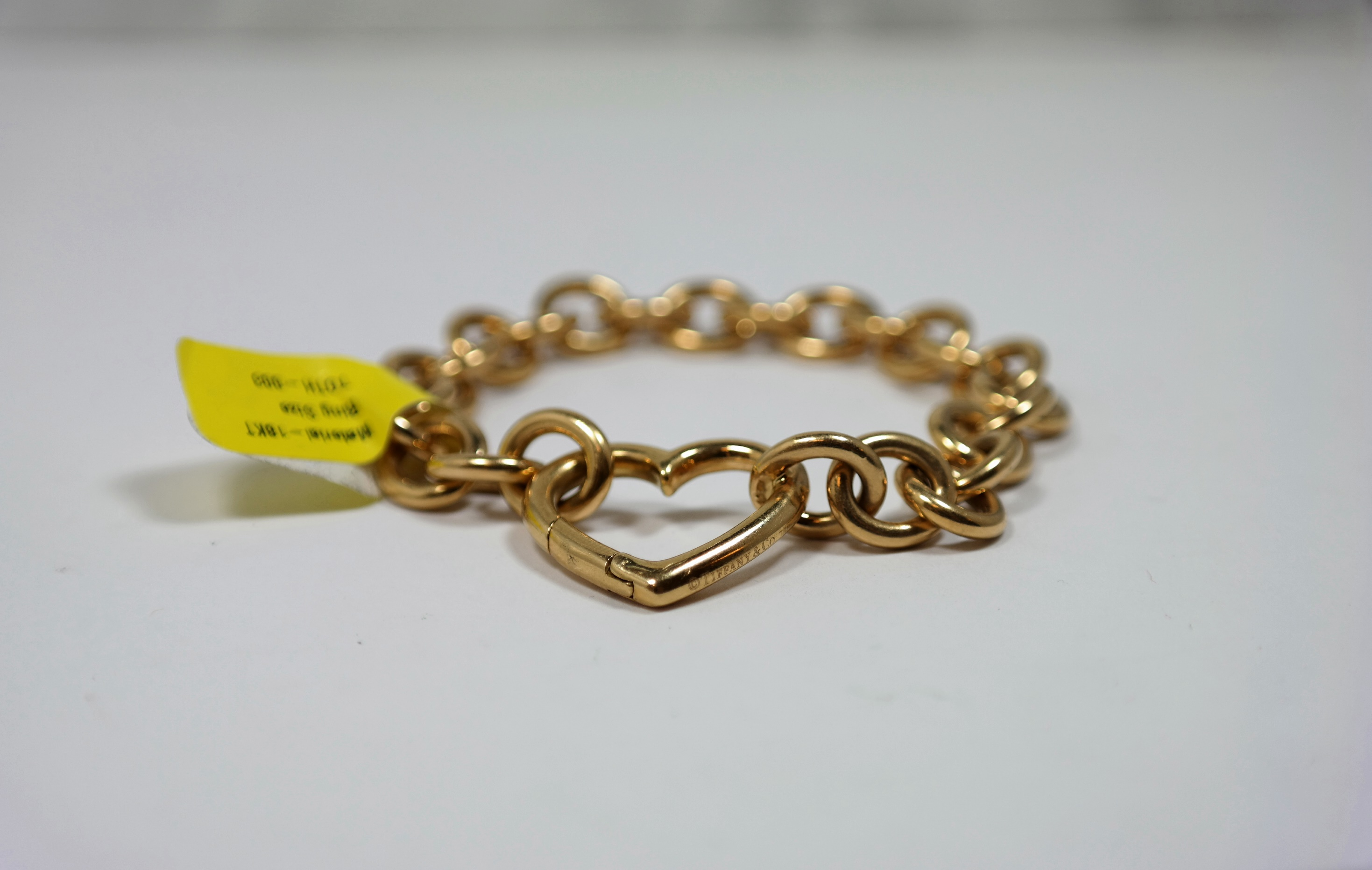 to grams with hallmarked each weight rose safety heart a vintage some bracelet link links curb chain linked length carat tom jewellery padlock pattern product gold large