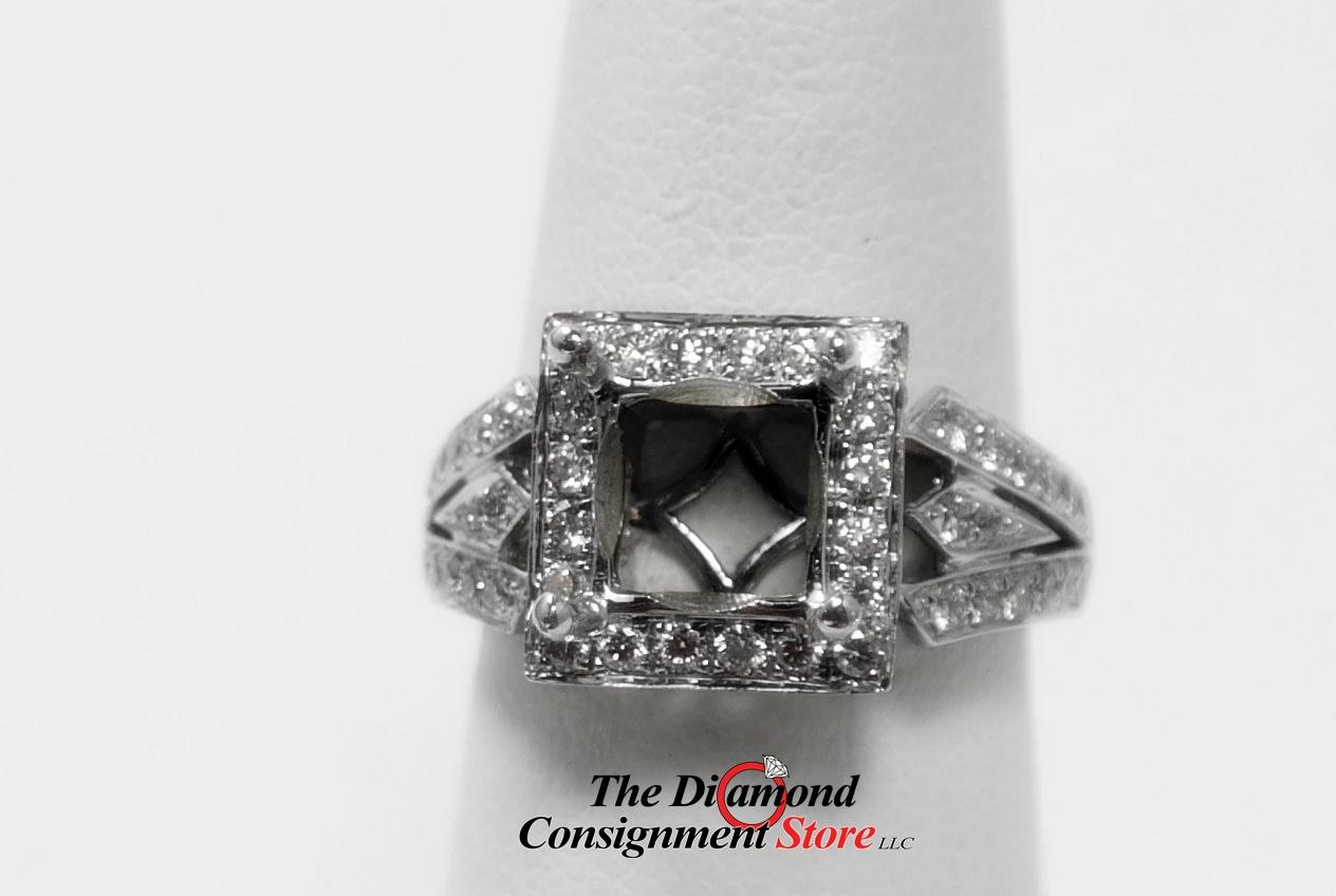 88 Cttw Princess Cut Diamond Engagement Ring Semi