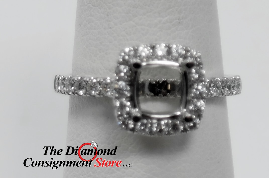 61 cttw  Princess Cut Diamond Halo Engagement Ring Semi Mounting for 1/2ct  PC - The Diamond Consignment Store