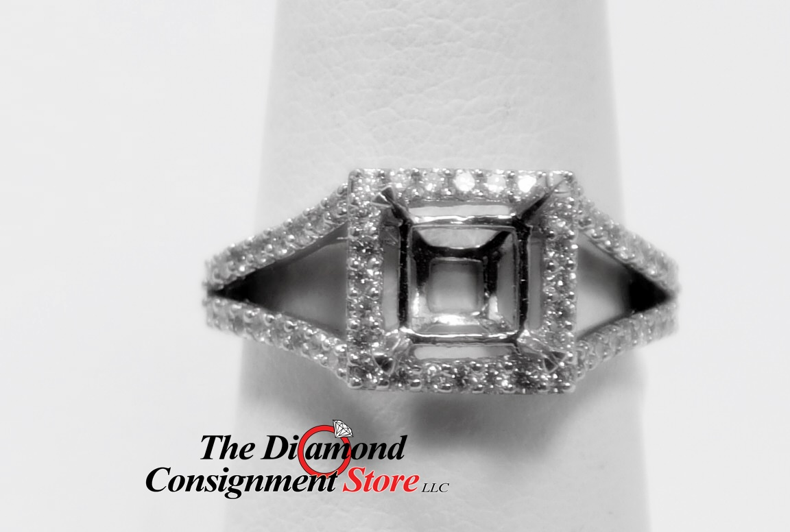 55 cttw  18K Princess Cut Halo Diamond Engagement Ring Semi Mounting for   75 PC - The Diamond Consignment Store