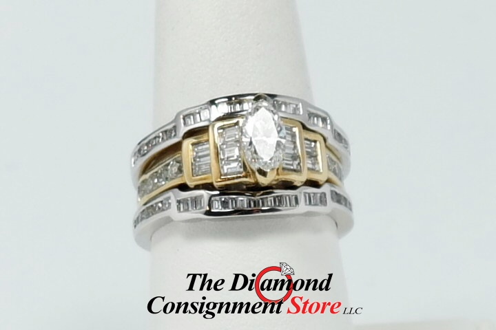 Gorgeous Marquis Yellow Gold Engagement Ring With White Gold Ring